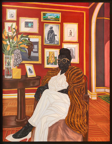 "Toyin Ojih Odutola, The Marchioness, 2016, charcoal, pastel, and pencil on paper, 83 x 66 x 2 1/2""."