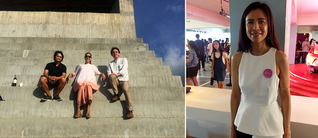 Left: Bellas Artes's Efren Madlangsakay and Bellas Artes Projects and Dhaka Art Summit's Diana Cambell Betancourt with architect/curator Aurelien Lemonier on Not Vital's chapel in Bataan. Right: Art Fair Philippines cofounder Trickie C. Lopa. (All photos: Cristina Sanchez-Kozyreva)