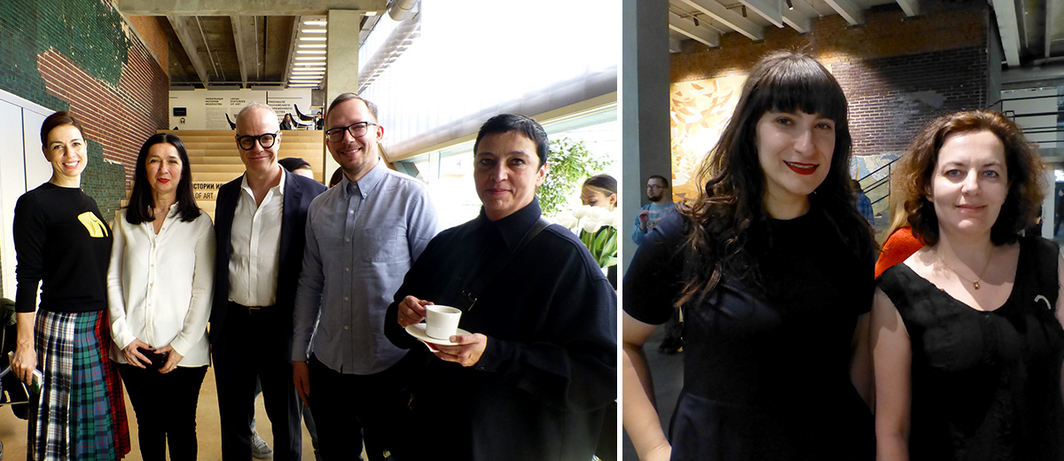 Left: Serpentine Gallery CEO Yana Peel, Moderna galerija's Zdenka Badovinac, Serpentine artistic director Hans Ulrich Obrist, Garage director Anton Belov, and Stedelijk Museum director Beatrix Ruf. Right: Artist Taus Makhacheva with Anya Dyulgerova. (Except where noted, all photos: Kate Sutton)