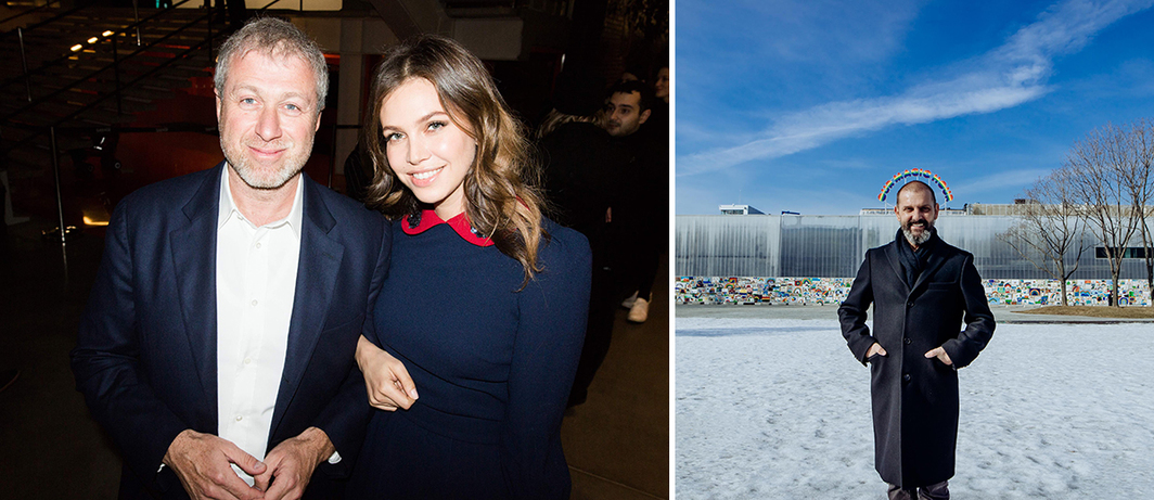 Left: Garage patron Roman Abramovich with founder Dasha Zhukova. (Photo: Nikolay Zverev) Right: Artist Ugo Rondinone with his installation outside the Garage. (Photo: Serge Outrush)