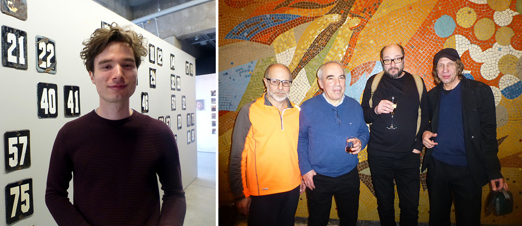 Left: Artist Aslan Gaisumov. Right: Artists Dmitry Gutov, Yuri Albert, Vladimir Dubossarsky, and Pavel Aksenov.