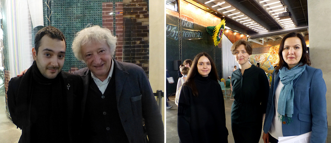 Left: Triennial curator Andrei Misiano with curator Viktor Misiano. Right: Artists Sveta Shuvaeva, Ira Korina, and Olga Chernysheva.