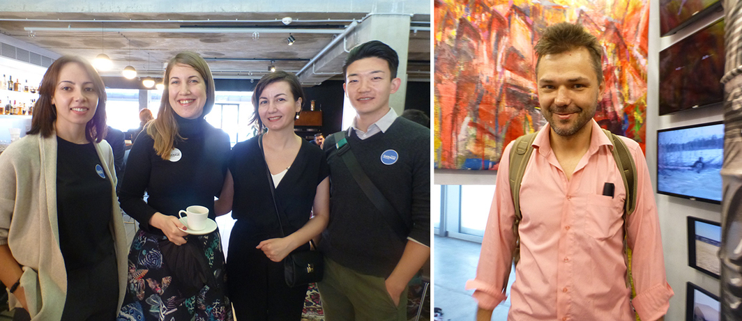 Left: Garage curatorial travel grant recipients Diana Ukhina, Celenk Bafra and Li Qi with Triennial curator Ilmira Bolotyan (third from left). Right: Artist Pasha Shugurov.