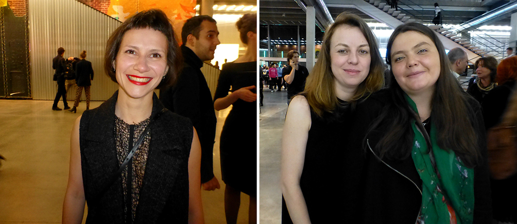 Left: Artist Sasha Pirogova. Right: New Holland Island's Natalya Svyatogor and Roxana Chatounovski.