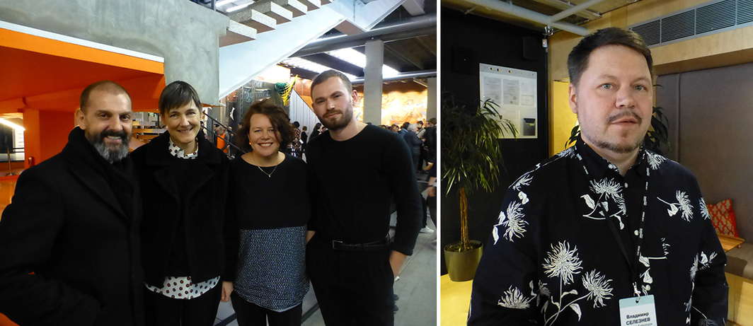 Left: Artist Ugo Rodinone, dealer Sadie Coles, Liverpool Biennial's Sally Tallant, and Frieze's Harry Thorne. Right: Artist Vladimir Seleznov.