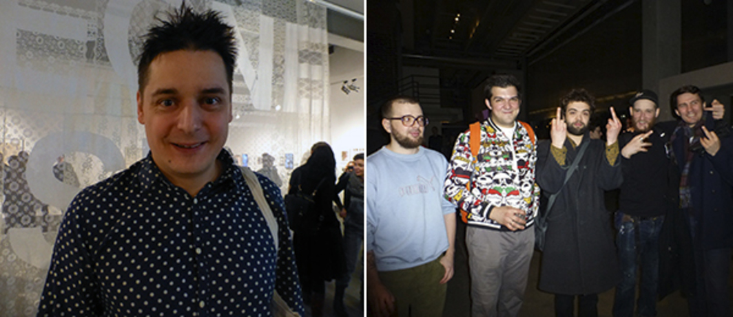 Left: Artist Rostan Tavasiev at NCCA Moscow. Right: Artists Ilya Dolgov, Kirill Garshin, Oleg Eliseev, Valery Chtak, and Misha Most.