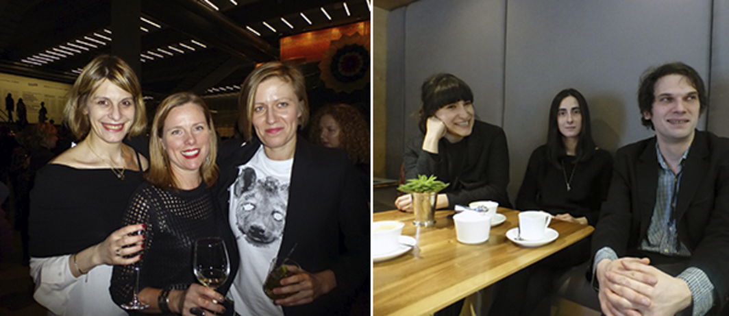 Left: MoMA's Ana Janevski and Michelle Elligott with curatorial travel grant recipient Joanna Sokolowska. Right: Artist Taus Makhacheva, critic Masha Kravtsova, and Garage curator Valentin Diaconov.