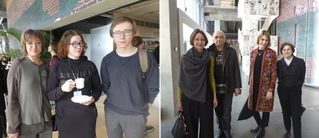 Left: Triennial curator Sasha Obukhova with artists Manana Nasybullova and Kirill Makarov. Right: Tate's Natalia Sidlina and artist Andrei Monastyrsky with MoMA's Ana Janevski and Laura Hoptman.