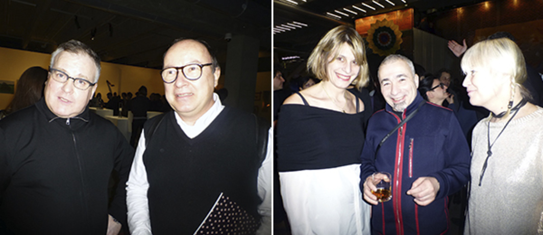 Left: Triumph's Dmitry Khankin with curator Andrey Erofeev. Right: Curators Ana Janevski and Maria Lind with Chto Delat's Dmitry Vilensky.