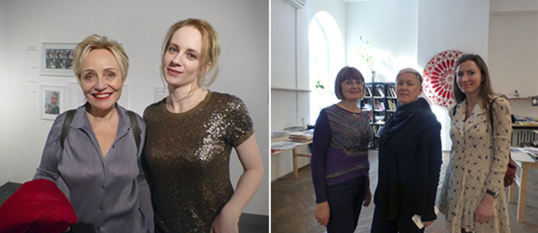Left: V-A-C director Teresa Mavica with Moscow Biennale of Young Art's Katya Kibovskaya at NCCA Moscow. Right: NCCA Vladikavkaz's Galina Tebieva, GROUND's Katya Bochavar, and Luda Gallery's Liza Matveeva at GROUND.