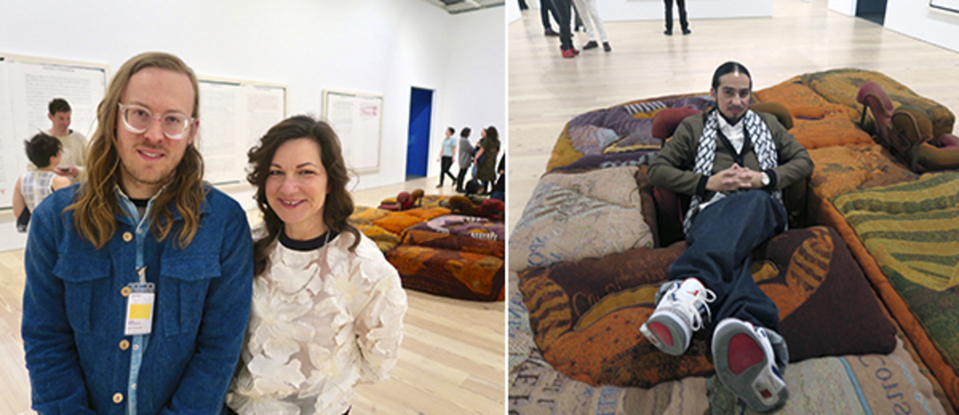Left: Artists John Riepenhoff and Frances Stark. Right: Bobby Jesus on a Jessi Reaves ottoman.