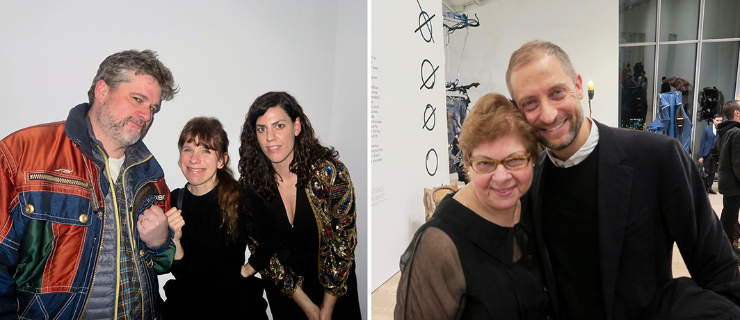 Left: Artist and dealer Wallace Whitney, artist Samara Golden, and dealer Davida Nemeroff. Right: Whitney Museum curator Donna De Salvo with MoMA chief curator of media and performance Stuart Comer.