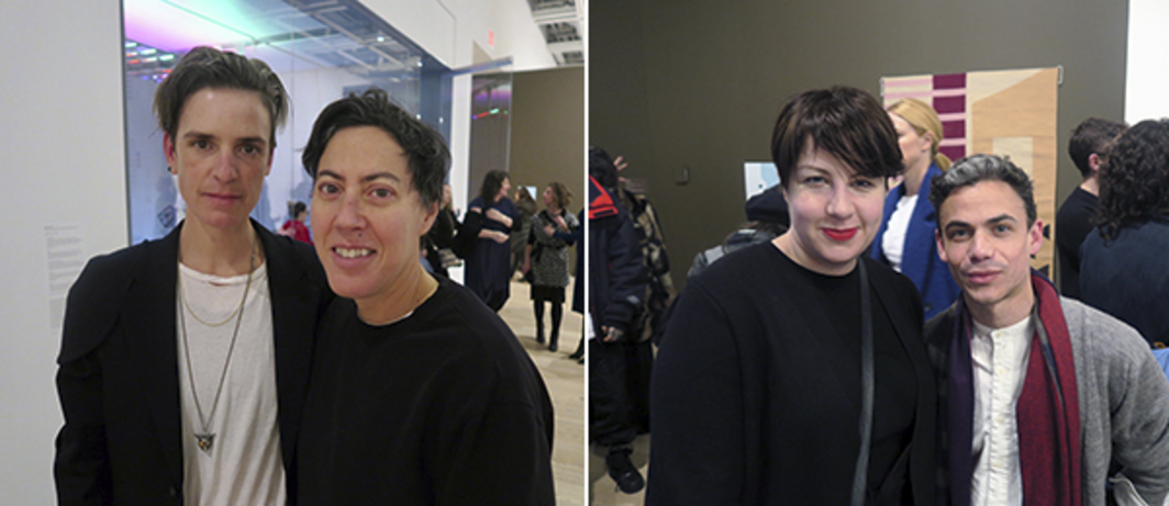 Left: Dealer Sophie Morner and artist Nicole Eisenman. Right: Dealers Hannah Robinson and Martin Coppell.