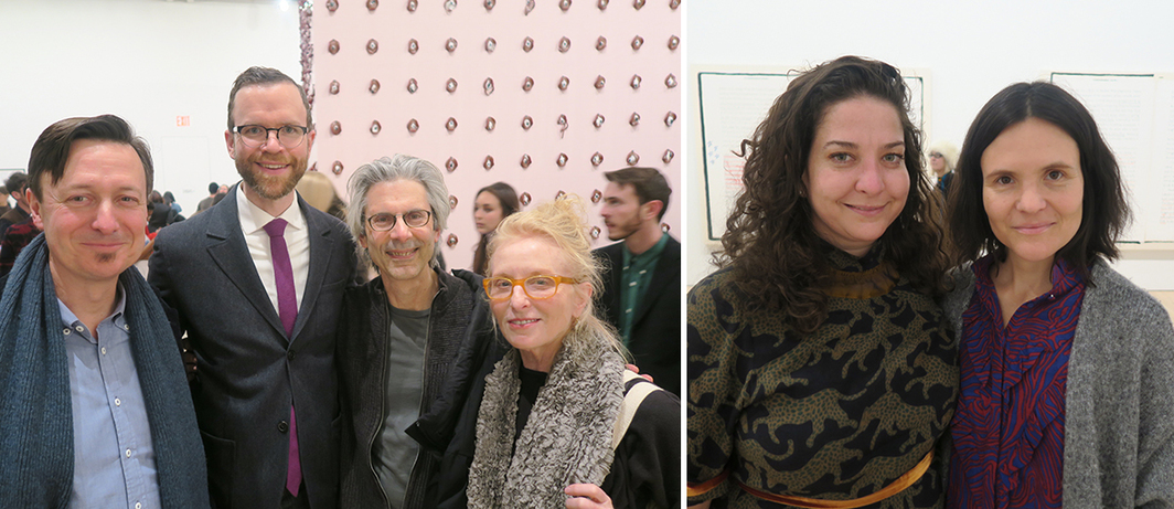 Left: Dealers John Corbett and Jim Dempsy with Dr. Mark Epstein and artist Arlene Shechet. Right: Artadia executive director Carolyn Ramo and NADA director Heather Hubbs.