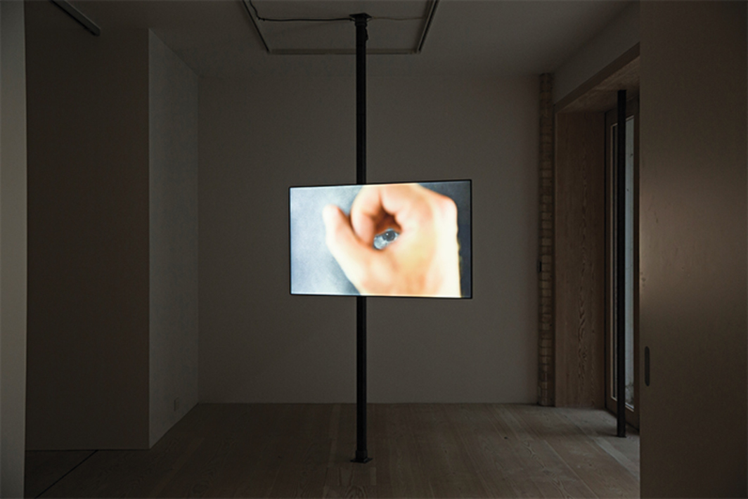 Jean-Paul Kelly, That ends that matter, 2016, three-channel HD video, color, sound, 12 minutes 34 seconds. Installation view, Delfina Foundation, London. Photo: Tim Bowditch.
