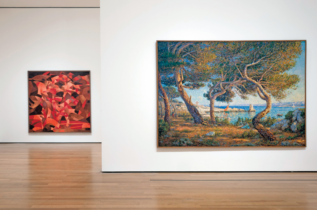 "View of ""Francis Picabia: Our Heads Are Round so Our Thoughts Can Change Direction,"" 2016–17. From left: Dances à la source [II] (Dances at the Spring [II]), 1912; Les pins, effet de soleil à Saint-Honorat (Cannes) (Pine Trees, Effect of Sunlight at Saint-Honorat [Cannes]), 1906. Photo: Martin Seck."