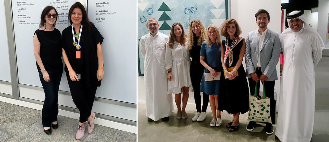 Left: Tate Saint Ives artistic director Anne Barlow and Art Jameel Director and Global Art Forum codirector  Antonia Carver. Right: Dealer Mohammed Hafiz of Jeddah's Athr Gallery; Victoria Gandit Lelandais, Aquamarina Adonopolou, and Vilma Jurkute of Alserkal Avenue; dealer Yasmin Atassi of Green Art Gallery in Dubai; Tairone Bastien; and Abdulmonem Alserkal of Alserkal Avenue.