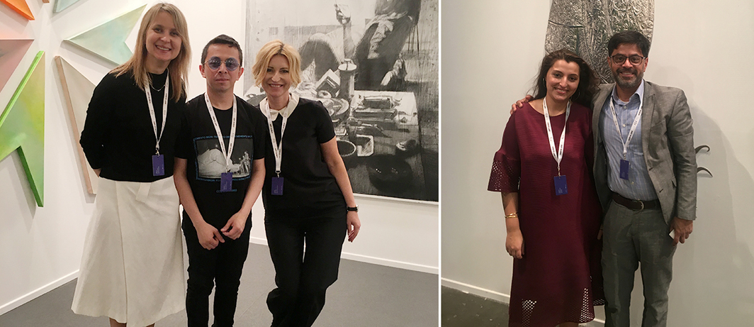 Left: Dealers Ekatherina Iragui and Arie Amaya-Akkermans of Moscow's Galerie Iragui and Nadya Kotova-Maesen of Antwerp's NK Gallery. Right: Dealers Jana Suhani Soin and Projjal Dutta of Aicon Gallery in New York.