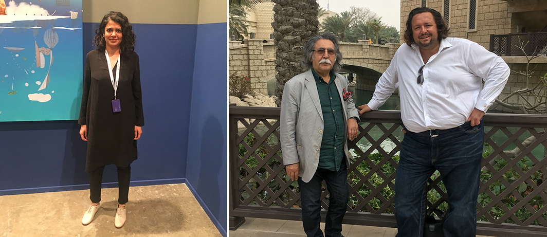 Left: Dealer Tara Lal of Mumbai's Chatterjee & Lal. Right: Artist Dia Azzawi and dealer Charles Pocock of Meem Gallery.