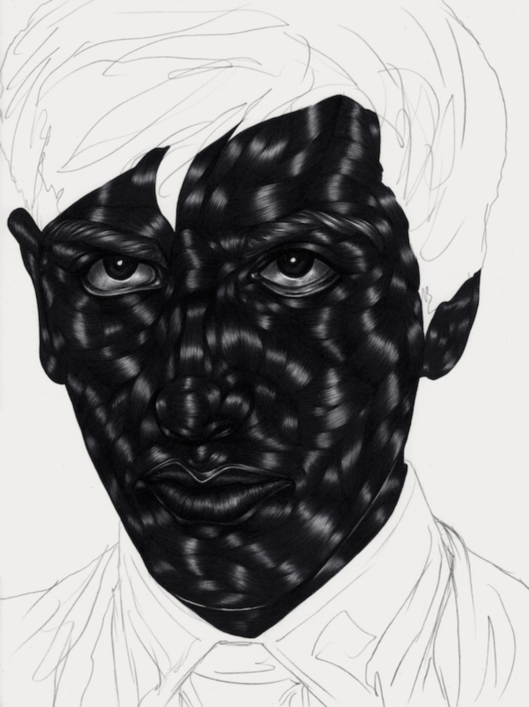 "Toyin Ojih Odutola, The Treatment I, 2015, pen ink, gel ink, and pencil on paper. 12 x 9""."