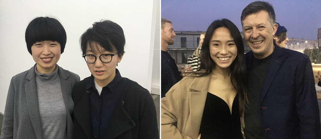 Left: Dealer Lu Jingjing and curator Yao Mengxi. Right: Linyao Kiki Liu and Thomas Eller.