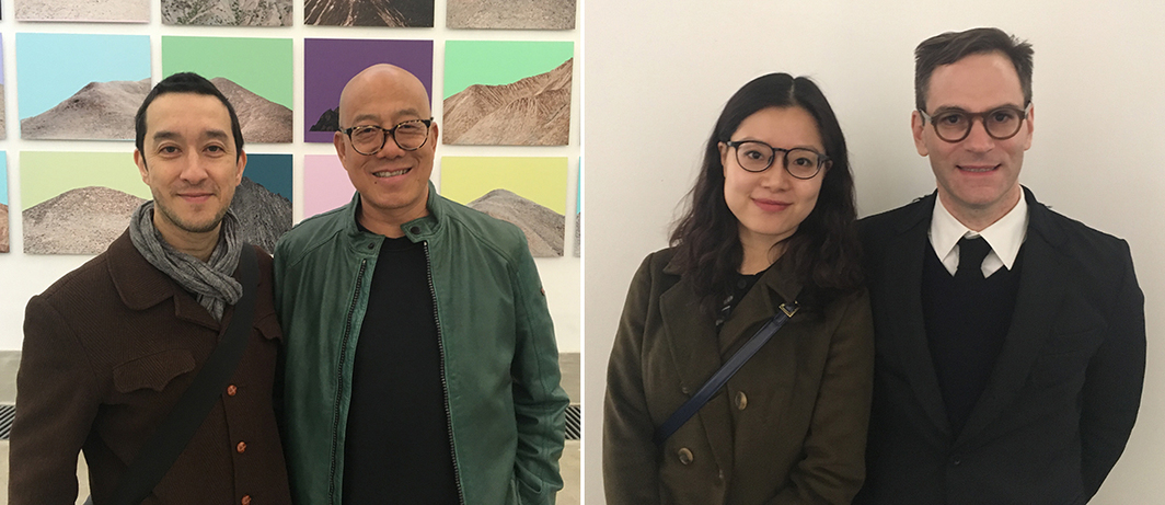 Left: Collin Chinnery and Zhuang Hui. Right: Artist Cui Jie and UCCA director Philip Tinari.