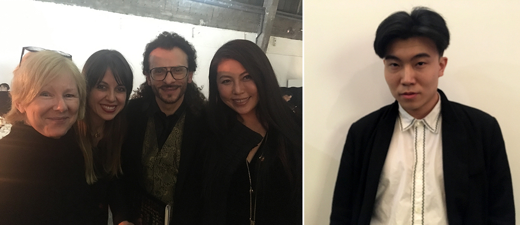 Left: Curator Karen Smith, dealer Federico Beltrame, dealer Lorenzo Fiaschi, and UCCA CEO May Xue. Right: M.Woods's Michael Xufu Huang.