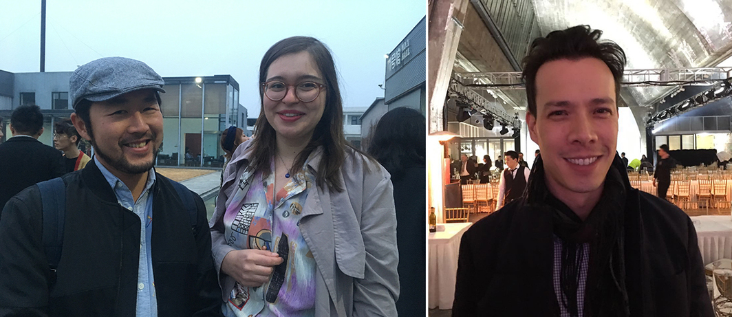 Left: Randian editor Daniel Szehin Ho and Tria publisher Anna-Victoria Eschbach. Right: Dealer Chris Reynolds.