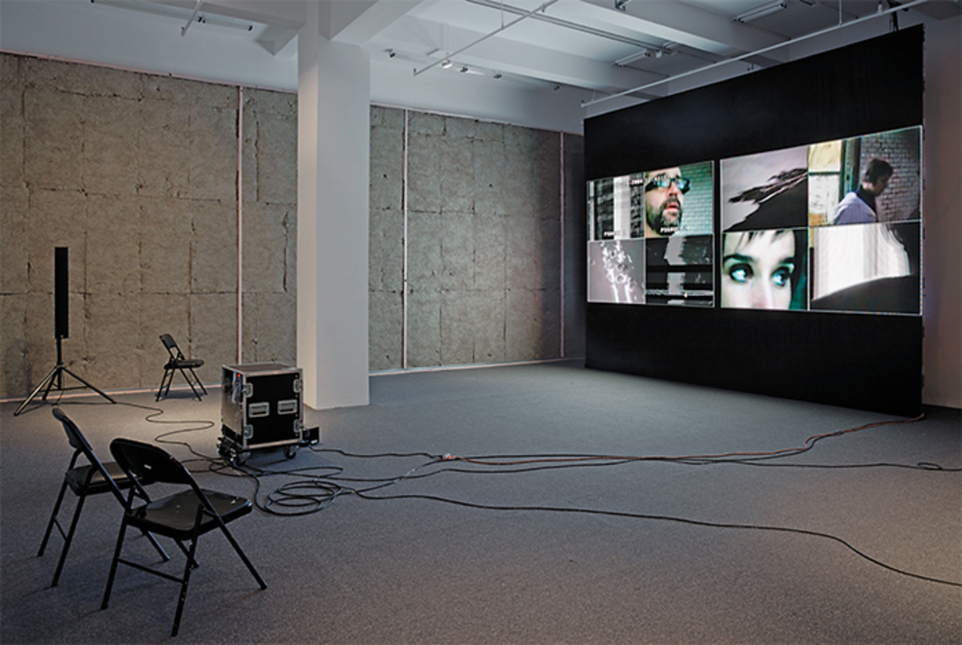 James Coleman, Working Arrangement—horoscopus, 2004–, eight-channel video installation, color and black-and-white, sound, 54 minutes. Photo: Cathy Carver.