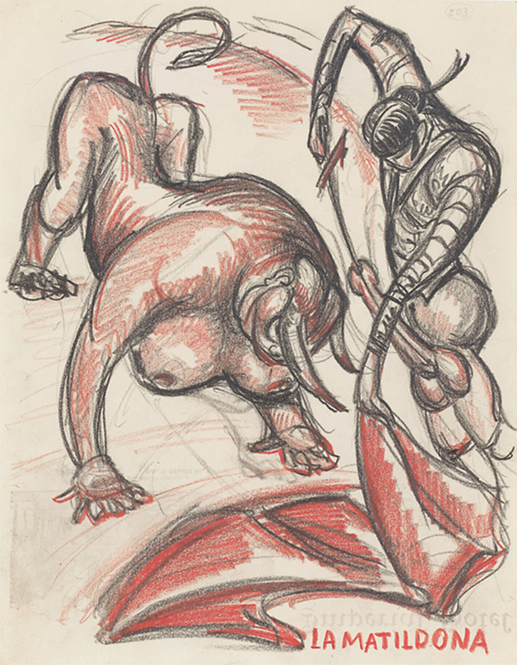 "Sergei Eisenstein, Untitled, n.d., colored pencil on paper, 10 5/8 × 8 1/4""."