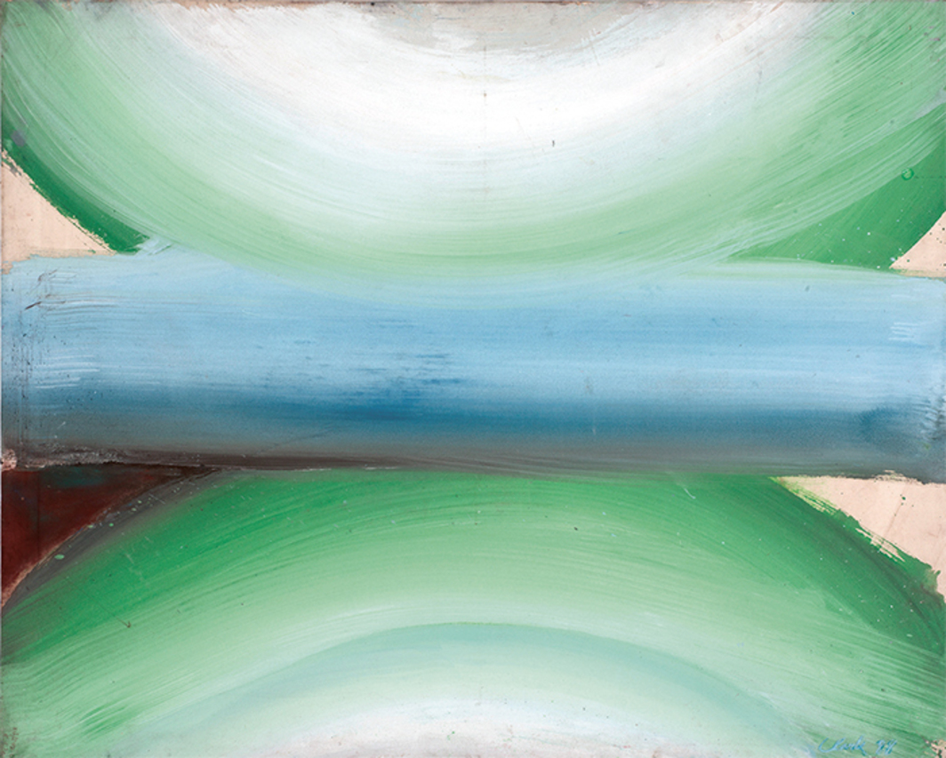 "Edward Clark, Untitled, 1988, acrylic on canvas, 56 5/8 × 69 3/4""."