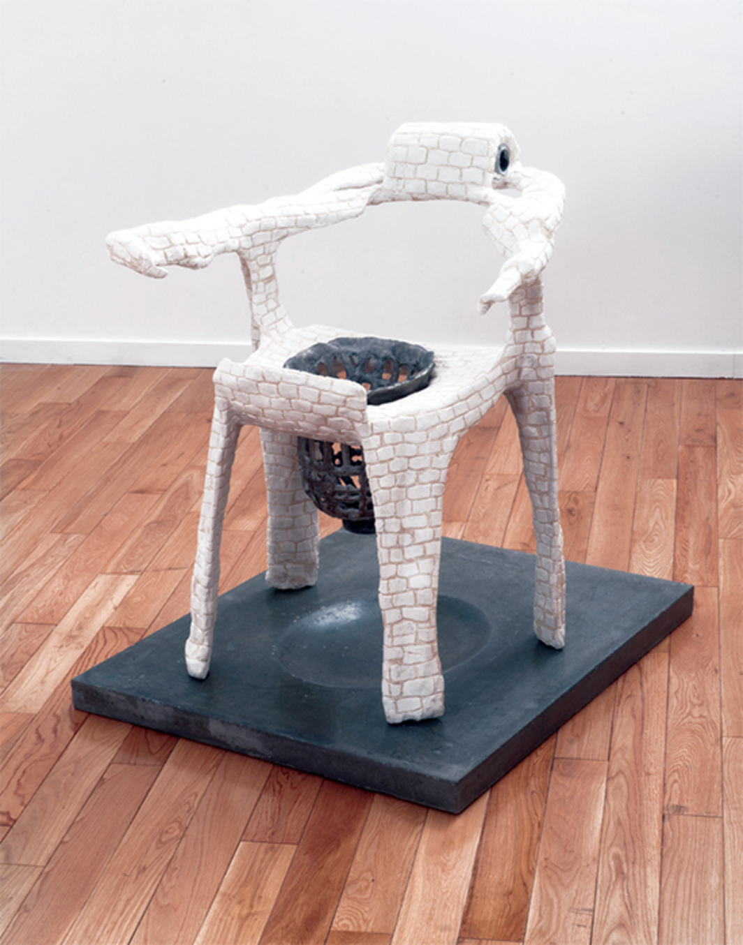 "Ann Greene Kelly, Untitled (bricked chair with drain), 2016, plastic chairs, Magic-Sculpt, steel mesh, fabric, Hydrocal, aluminum, colored pencil, 32 1/2 × 22 × 27""."
