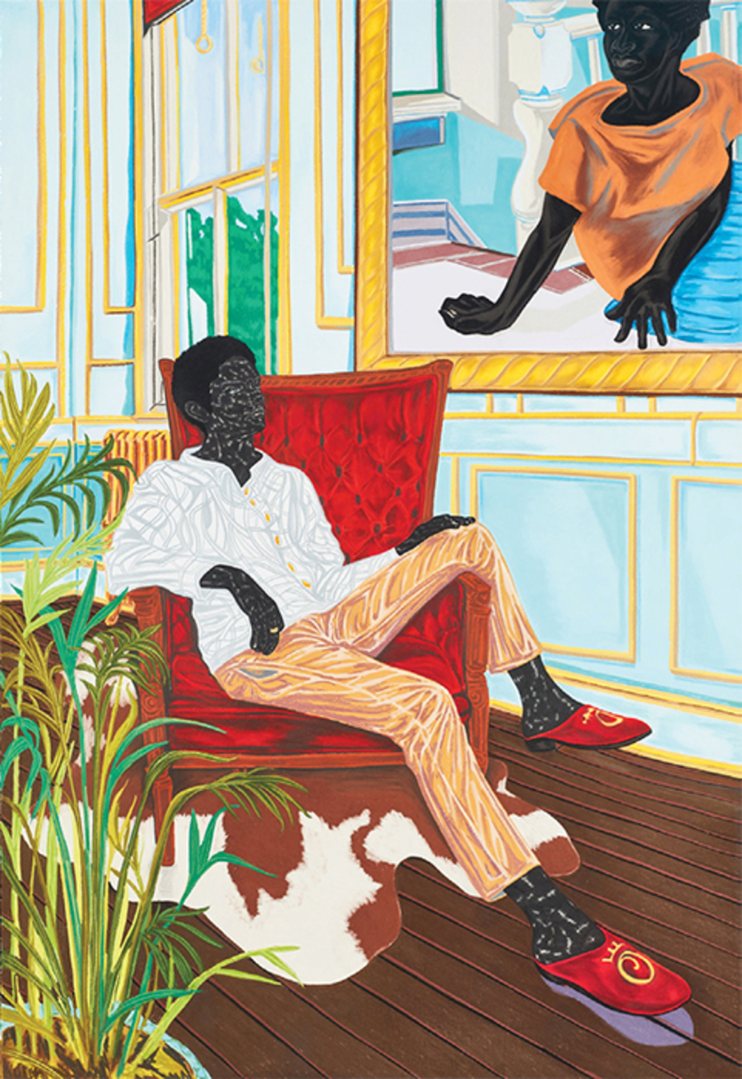 "Toyin Ojih Odutola, A Grand Inheritance, 2016, charcoal, pastel, and pencil on paper, 89 × 60""."