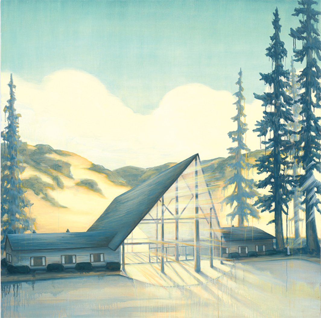 "Dan Attoe, Visitor Center with Pines, 2016, oil on canvas, 48 × 48""."