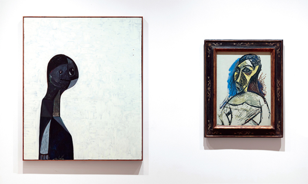 "View of ""George Condo,"" 2016–17. From left: George Condo, Shadow Personage, 1990; Pablo Picasso, Female Nude (Study for ""Les demoiselles d'Avignon""), 1907. Photo: Timo Ohler. © Estate of Pablo Picasso/Artists Rights Society (ARS), New York."
