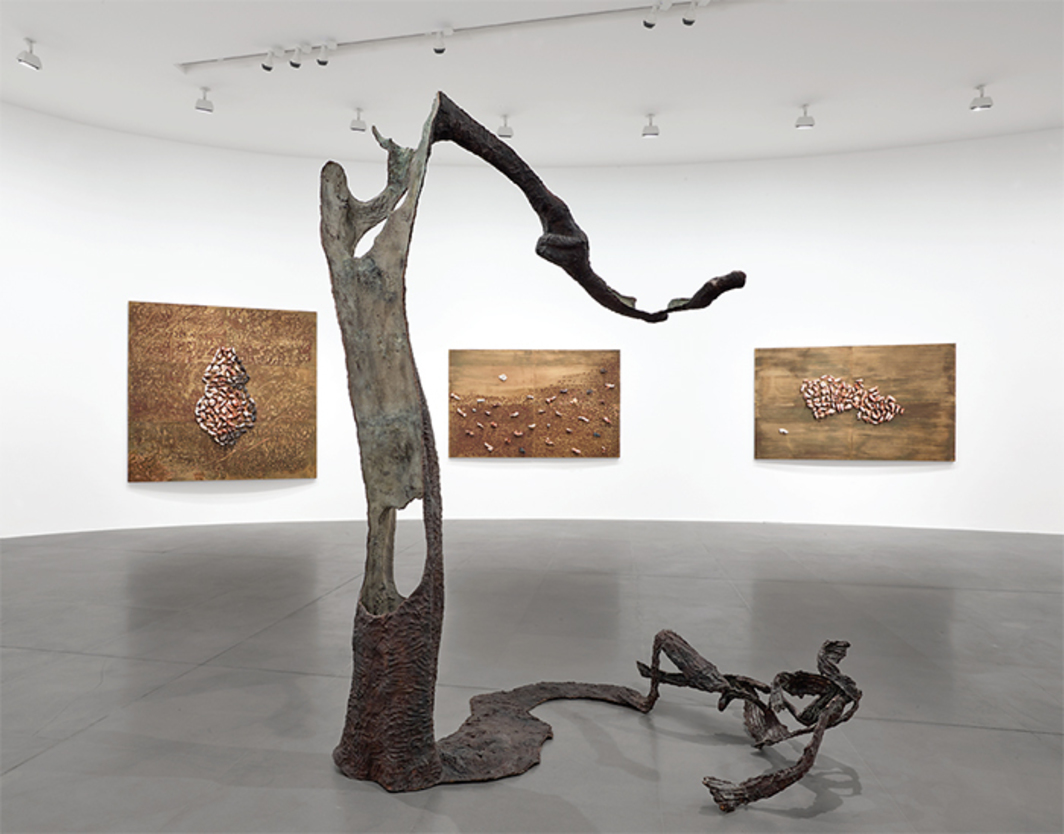 "View of ""Giuseppe Penone,"" 2017. Foreground: Equivalenze (Equivalences), 2016. On wall, from left: Equivalenze-2 luglio 2016 (Equivalences, July 2, 2016); Equivalenze-7 luglio 2016 (Equivalences, July 7, 2016); Equivalenze-14 luglio 2016 (Equivalences, July 14, 2016). Photo: Matteo D'Eletto."