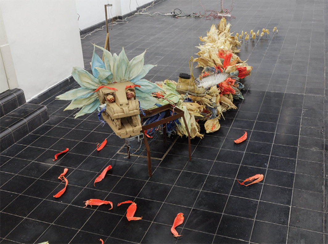 Fernando Palma Rodríguez, Quetzalcóatl, 2016, mixed media. Installation view. Photo: Omar Luis Olguin.