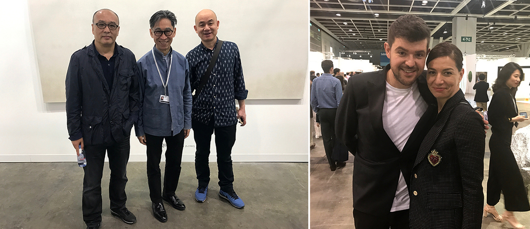 Left: Artist Zhang Xiaogang, dealer Johnson Chang, and Liu Jianhua. Right: Para Site director Cosmin Costinas and Serpentine Gallery CEO Yana Peel.