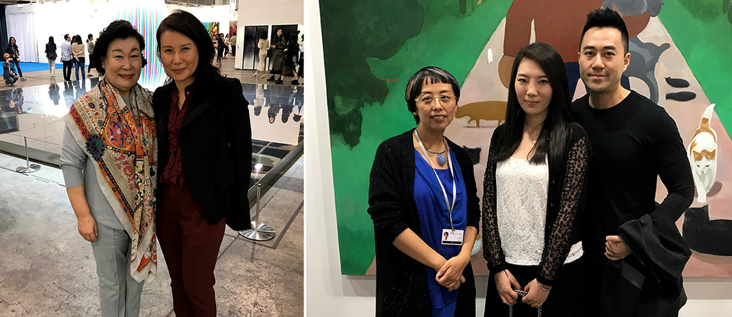 Left: Kukje Gallery CEO Hyun-Sook Lee and dealer Tina Kim. Right: Platform China director Sun Ning with collectors Li Huina and Huang Yu.