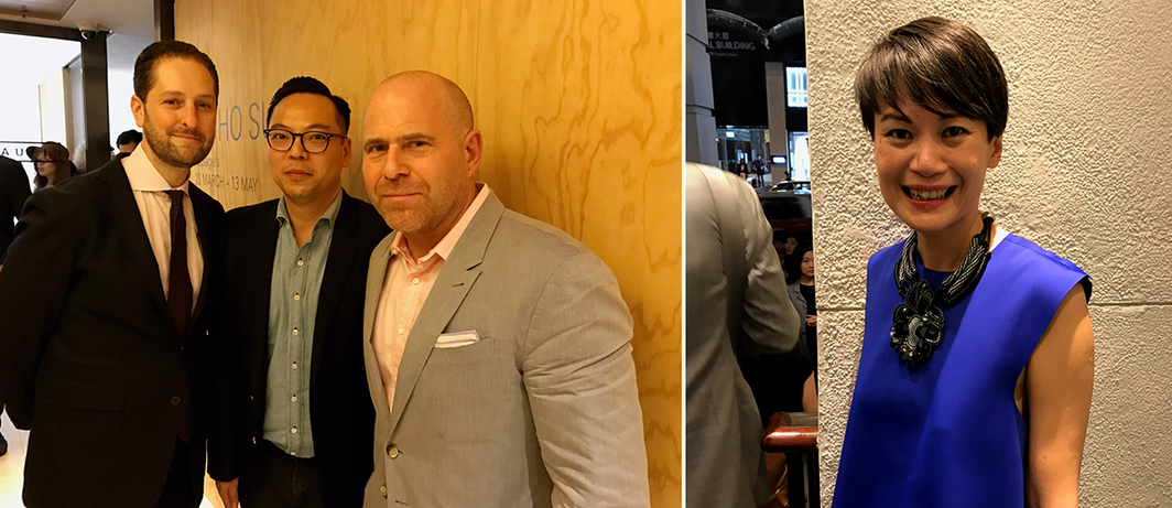 Left: Art Basel Americas director Noah Horowitz, Duddell's cofounder Alan Lo, and Art Basel director Marc Spiegler. Right: Art Basel Asia director Adeline Ooi.