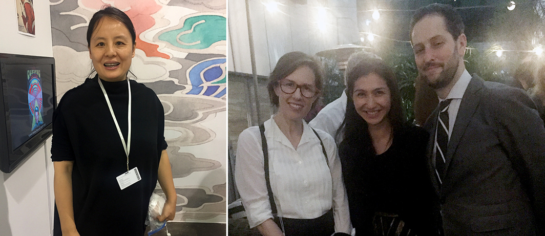 Left: Vitamin Creative Space's Zhang Wei. Right: Spring Workshop founder Mimi Brown, UBS's Deborah Ehrlich, and Art Basel's Noah Horowitz.