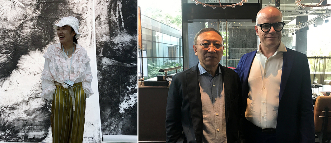 Left: Artist Bingyi. Right: Shanghai Himalayas Museum director Yongwoo Lee and Serpentine Gallery director Hans Ulrich Obrist.