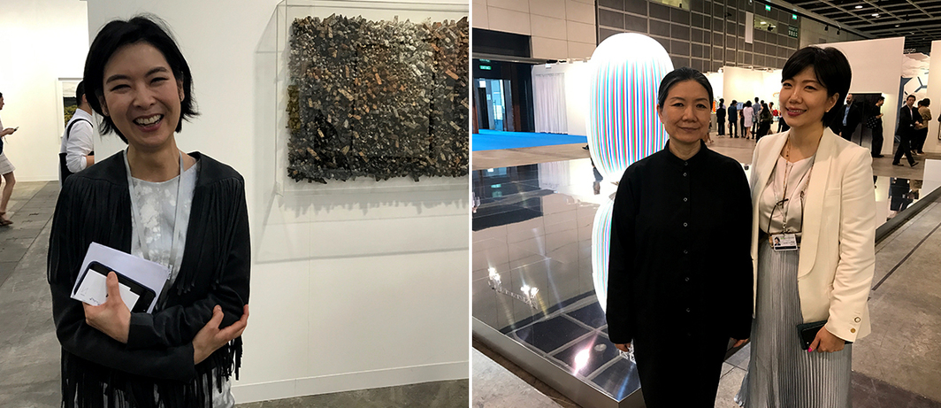 Left: PKM Gallery director SiYoung Hur. Right: Artist Kimsooja and Kukje Gallery's Zoe Chun.