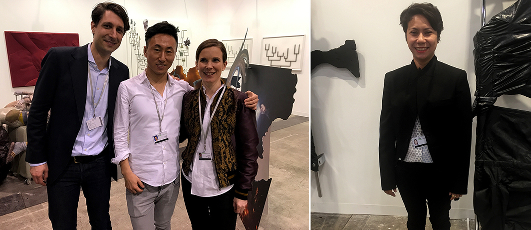 Left: Dealer Amadeo Kraupa-Tuskany, Antenna Space's Simon Wang, and dealer Nadine Zeidler. Right: Silverlens Galleries' Isa Lorenzo.