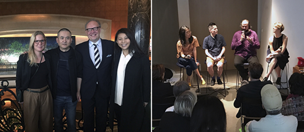Left: Davidoff Art Initiative's Albertine Kopp, artist Zeng Fanzhi, Davidoff CEO Hans-Kristian Hoejsgaard, CEO of the Ullens Center for Contemporary Art May Xue. Right: Spring Workshop's Christina Li, artists Samson Young and Ari Benjamin Meiers, and Frieze's Amy Sherlock.