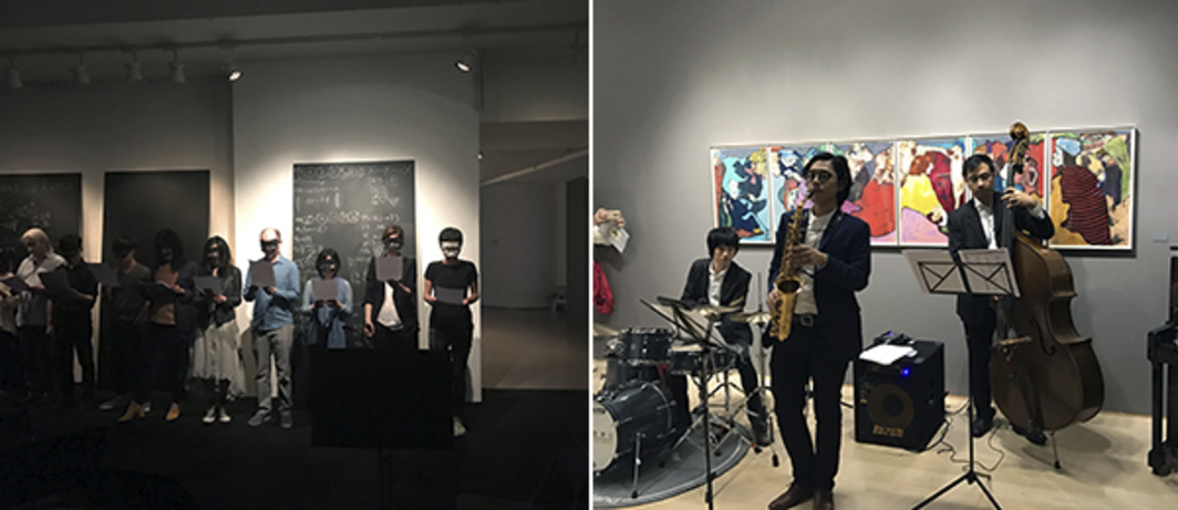 Left: Ari Benjamin Meiers performance at Spring Workshop. Right: Jazz at Hanart.