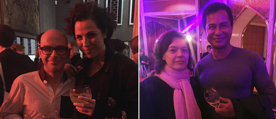Left: Art 21's Thomas Wüstenhagen and Art Basel's Dunja Gottweis. Right: CCA Singapore's Ute Meta Bauer with Victoria Miro's Glenn Scott Wright.