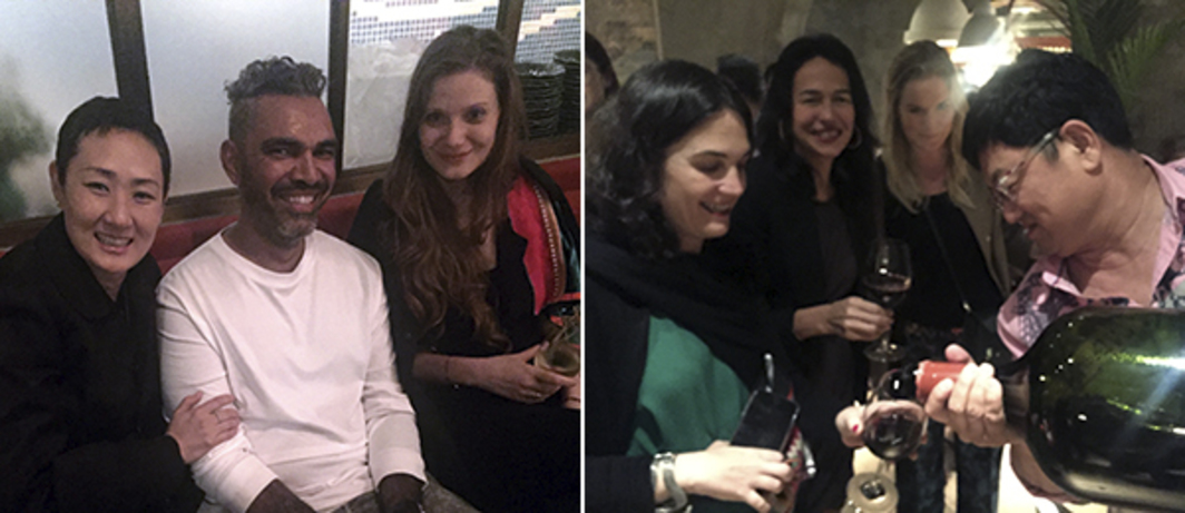 Left: STPI's Emi Eu, artist Daniel Boyd, and art historian Ulrike Kasas. Right: Art Basel's Iciar Mangas, collector Marcella Ciacci, Albertine Kopp, and collector Yang Bin.