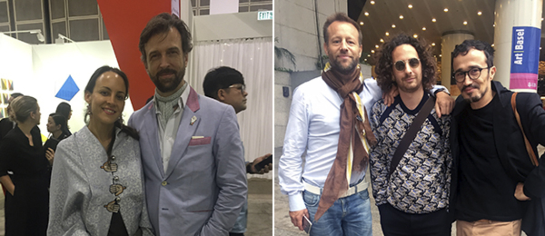 Left: Arternativ's Eva Ruiz and collector Alain Servais. Right: Collector Edo Jansen with artists Filippo Sciacia and Marco Cassani.