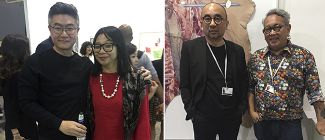 Left: Artist Heman Chong and curator Alia Swastika. Right: Artist Eddie Hara and dealer Biantoro Santoso.